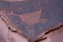 Petroglyph Of Deer Or Goat On ...