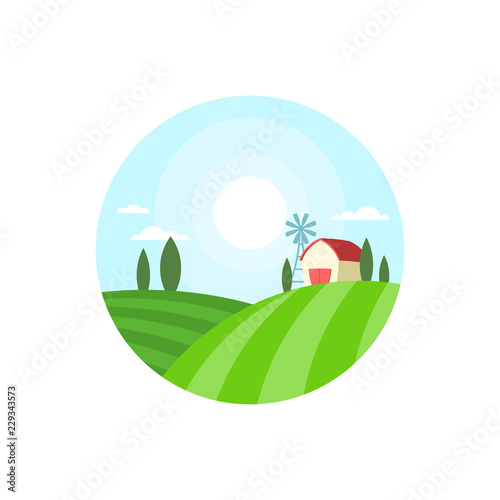 Farm House Round Label Badge Template With Landscape Concept Natural Products Vector Ilration Isolated On White Background