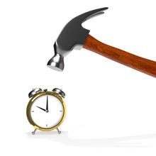 Hammer And Alarm Clock Isolated On White Background. 3D Rendering