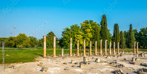 Photo View of the archaeological area of Aquileia in Italy