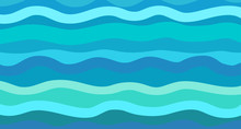 Nautical Geometric Wallpaper Of The Surface. Sea Background. Bright Colors. Pattern With Lines And Waves. Multicolored Texture. Decorative Style. Dinamic Backdrop. Doodle For Design And Business