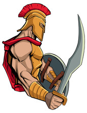 Mascot Illustration Of Spartan Warrior Holding Sword And Shield, Ready For Battle.