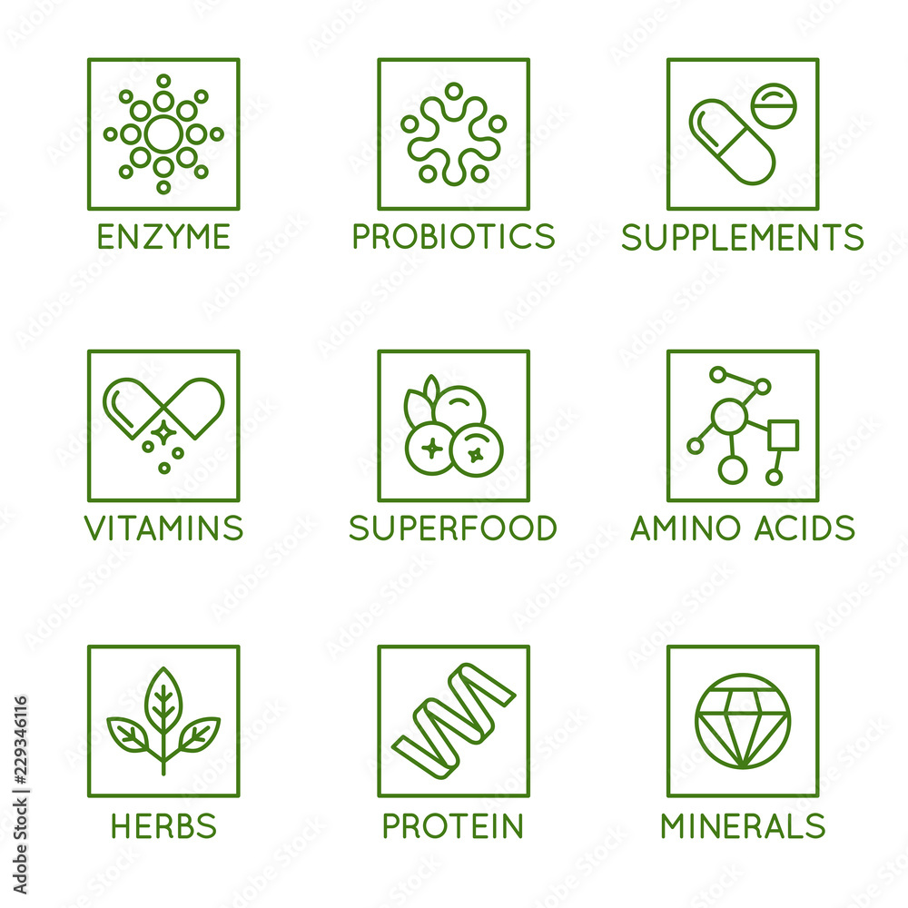 Fototapeta Vector set of icons and badges for packaging for natural health products, vitamins, supplements