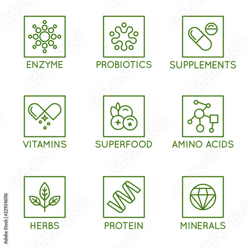 Vector set of icons and badges for packaging for natural health products, vitami Canvas Print
