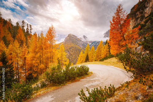 fototapeta na drzwi i meble Stunning image of the alpine road. Location place National Park Tre Cime di Lavaredo.