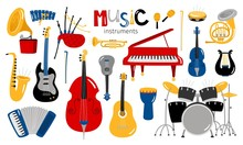 Cartoon Musical Instruments. M...