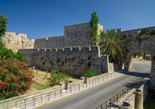 Old City Wall And Moat Of Rhodes