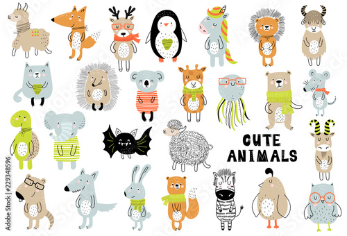 fototapeta na lodówkę Vector poster with cartoon cute animals for kids in scandinavian style. Hand drawn graphic zoo
