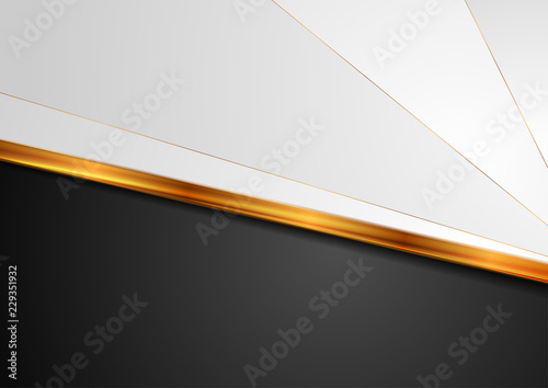 Contrast white black background with golden stripe