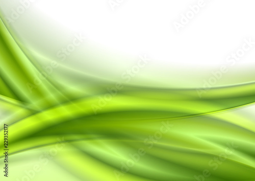 Fototapety, obrazy: Abstract green smooth shiny waves on white background