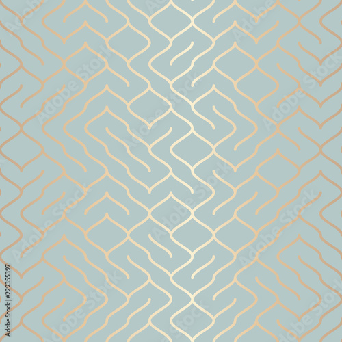 Seamless vector geometric golden element pattern. Abstract background copper line texture on blue green. Simple minimalistic graphic print. Modern turquoise trellis grid. Trendy wrapping paper design.