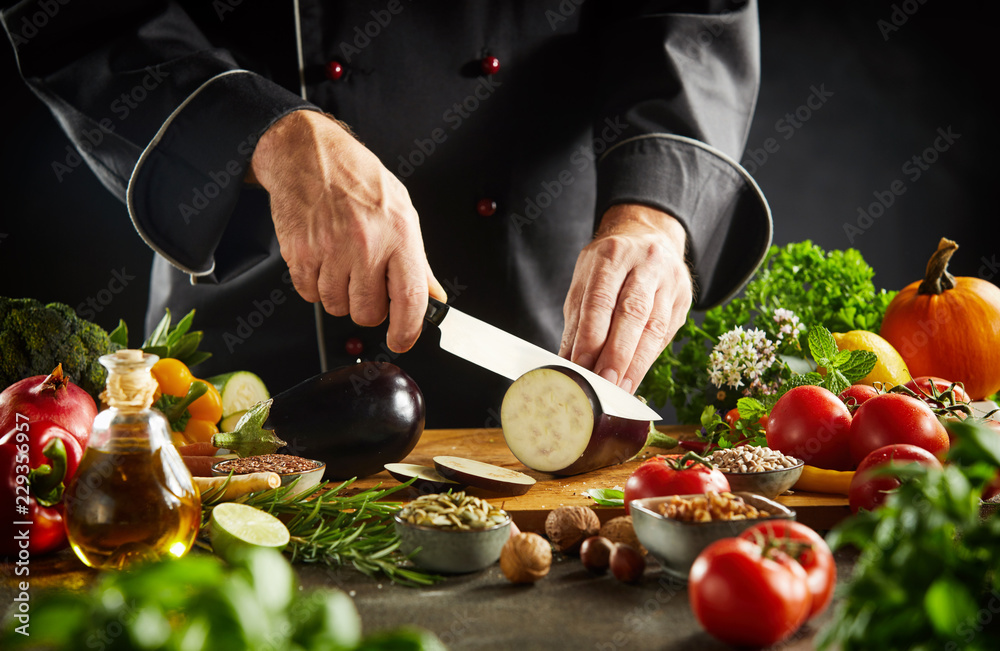 Fototapety, obrazy: Chef preparing healthy vegetarian cuisine