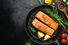 Raw Salmon Fish On Vintage Pan