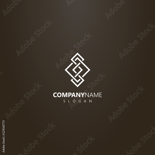 white logo on a black background. simple vector line art logo of rhombus element of the Scandinavian pattern Wall mural