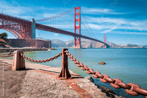 Canvas Prints San Francisco Golden Gate Bridge with Fort Point, San Francisco, California