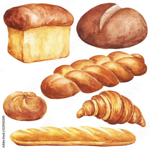 Hand Drawn Watercolor Bread Set Isolated On White Background Delicious Bakery Food Illustration Buy This Stock Illustration And Explore Similar Illustrations At Adobe Stock Adobe Stock