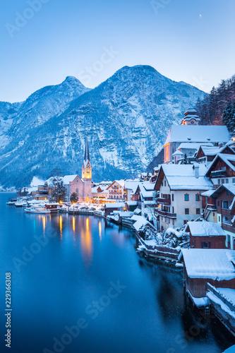 Door stickers Blue sky Hallstatt at twilight in winter, Salzkammergut, Austria