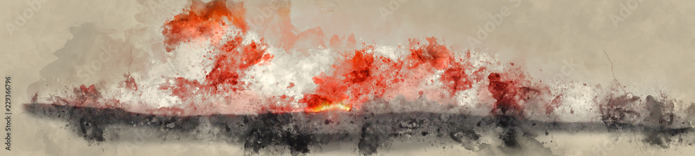 Fototapeta Abstract Watercolor Digital Banner Painting of Sunset with Vivid Orange and Black Colors