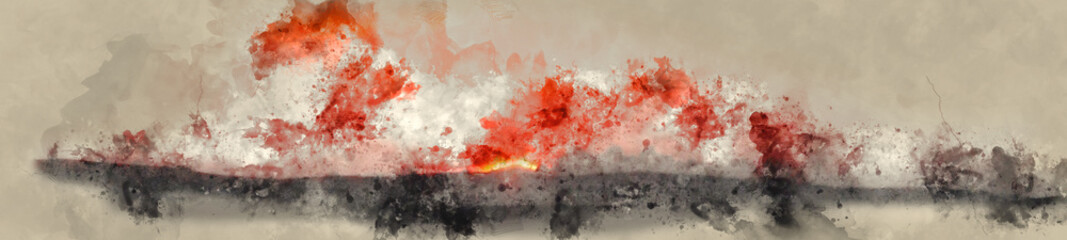 Abstract Watercolor Digital Banner Painting of Sunset with Vivid Orange and Black Colors