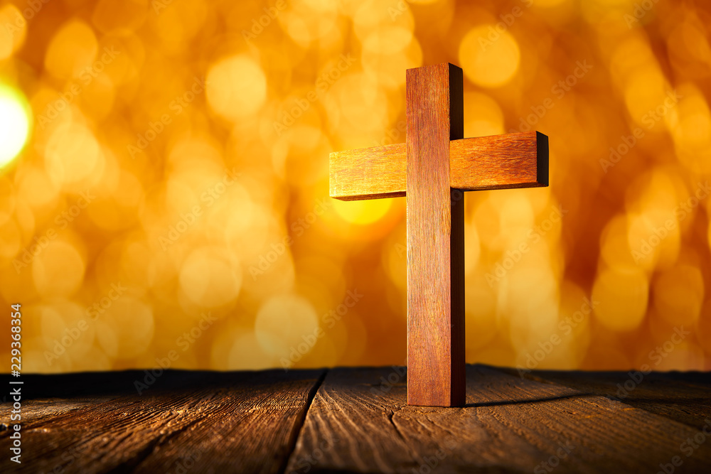 Fototapety, obrazy: Christian wood cross on blur flare lights