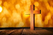 Christian Wood Cross On Blur F...