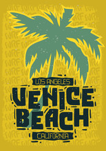 Venice Beach Los Angeles California Palm Tree  Label Sign  Logo Hand Drawn Lettering  For T Shirt Or Sticker Poster For Promotion Ads Vector Image