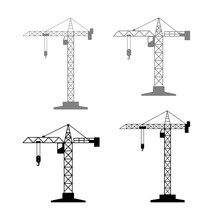 Tower Crane Vector Icons On Wh...