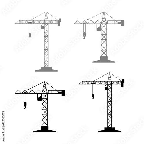 фотография Tower crane vector icons on white background