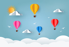 Colorful Air Balloons And Cloud On Sky. Paper Art