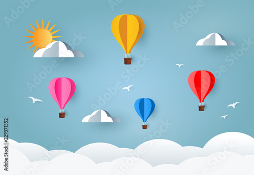 Fotografie, Obraz  Colorful Air Balloons and Cloud on sky. paper art