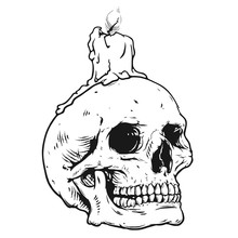 Human Skull With Candle Light, Vector Illustration