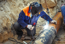 Welding Of The Pipeline. Process Of Creation Of Welding Connection By The Special Mobile Tool.