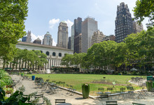 Green Lawn And Skyscrapers In Bryant Park In Midtown Manhattan, New York, USA