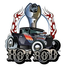 Cartoon Retro Hot Rod With Vin...