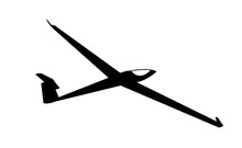 Aircraft Glider Black Silhouette, Isolated On White