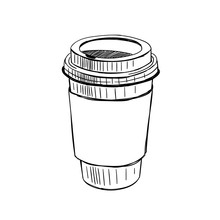 Paper Coffee Cup Hand Drawn Vector Illustration On White Background. Coffee To Go Outline Sketch Drawing