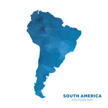 Map Of South America. Blue Geometric Polygon Map.