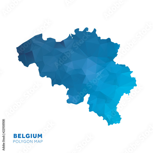 Map of Belgium. Blue geometric polygon map. Wallpaper Mural