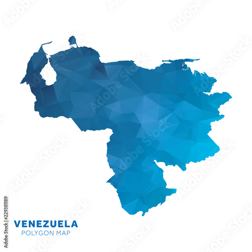 Obraz na plátne Map of Venezuela. Blue geometric polygon map.