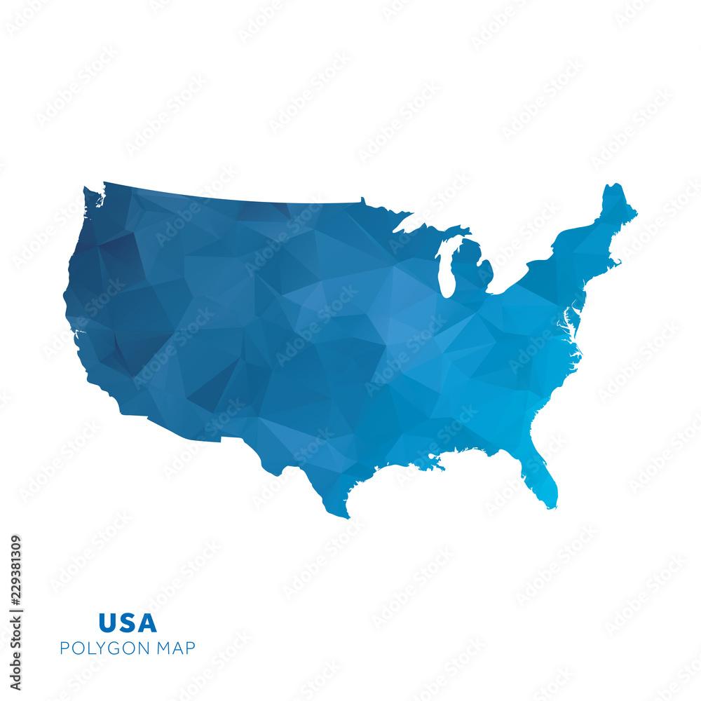 Fototapeta Map of United States. Blue geometric polygon map.