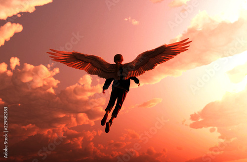 Foto  Girl is dreaming that her can fly up to the sky,3d rendering