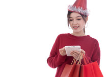 Woman Shopping And Using Digit...