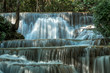 Close up of Huay Maekamin Waterfall Tier 1 (Dong Wan or Herb Jungle) in Kanchanaburi, Thailand; photo by long exposure with slow speed shutter
