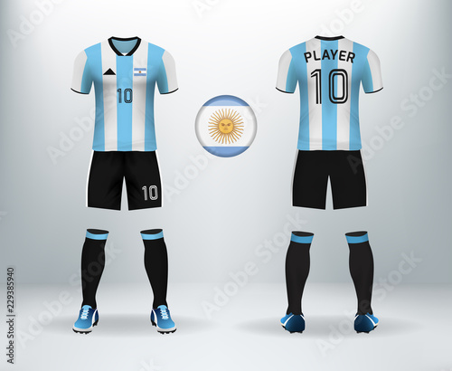 0ceb154872b 3D realistic of font and back of Argentina soccer jersey shirt with pants  and Switzerland badge