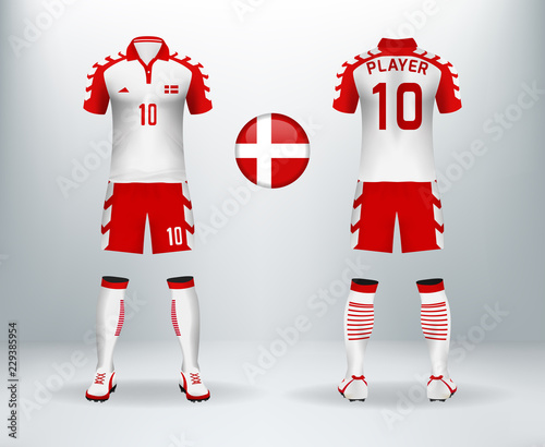 3D realistic of font and back of denmark soccer jersey shirt with pants and  Switzerland badge. Concept for national soccer team uniform or football  apparel ... 0f92e7124