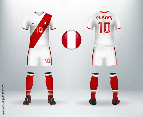 b2d0e66f41e 3D realistic of font and back of Peru soccer jersey shirt with pants and  Switzerland badge
