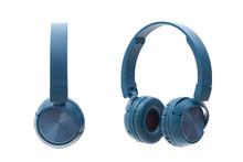 Bluetooth Blue Headphone On White Background Isolated