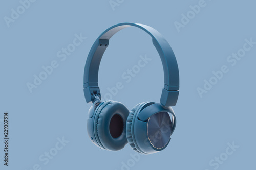 bluetooth blue headphone on blue background