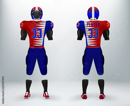 6d82a6222dc 3D realistic mockup of American rugby football jersey uniforms sets.  Concept for football apparel mock