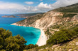 Perfect vacation destination in Greece. Myrthos beach on Kefalonia island at sunny day.